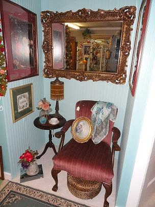 Ornate gold frame shabby chic mirror, vintage rose chair, amber beaded lamp
